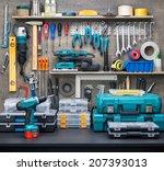 workshop scene.  tools on the... | Shutterstock . vector #207393013