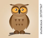 funny cute owl isolated on a... | Shutterstock .eps vector #207397567