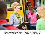 bus  teacher checking off...   Shutterstock . vector #207420427