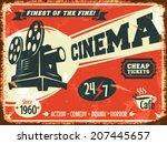 grunge retro cinema poster.... | Shutterstock .eps vector #207445657