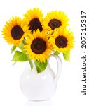 Bunch Of Sunflowers Isolated O...