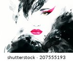 woman portrait  .abstract ... | Shutterstock . vector #207555193