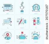 Set of flat line icons for business. Icons for company strategy, planning, teamwork, portfolio, organization, management, marketing, contact information.