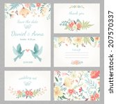 Beautiful vintage wedding set with cute flowers and love birds. Wedding invitation, thank you card, save the date cards. RSVP card. Vector illustration. - stock vector