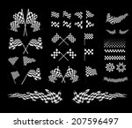 checkered flag vector set...