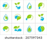 set of icons with green leaves... | Shutterstock .eps vector #207597343
