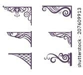 set decorative vintage forged... | Shutterstock .eps vector #207609913