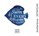 vector quote about ocean   swin ... | Shutterstock .eps vector #207692143