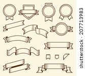 set of vintage ribbons and... | Shutterstock . vector #207713983