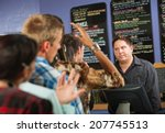 annoyed male cafe worker with... | Shutterstock . vector #207745513