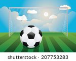 black and white soccer ball and ... | Shutterstock .eps vector #207753283