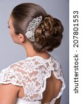 wedding hairstyle. beautiful... | Shutterstock . vector #207801553