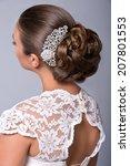 wedding hairstyle. beautiful... | Shutterstock . vector #207801553