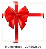 red gift bow with ribbon.... | Shutterstock .eps vector #207802603