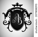 vintage crest with ab monogram | Shutterstock .eps vector #207808093