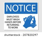 employees wash hands sign... | Shutterstock .eps vector #207820297