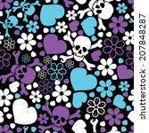 flowers  skulls and hearts  ... | Shutterstock .eps vector #207848287