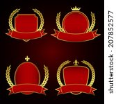 set of red royal labels with... | Shutterstock .eps vector #207852577