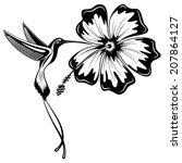 hummingbird and hibiscus tattoo | Shutterstock .eps vector #207864127
