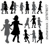 silhouettes of small girls on...   Shutterstock .eps vector #207878077
