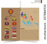 design of happy abstract brochure made from brown recycled paper, AEC, ASEAN Economic Community, vector illustration