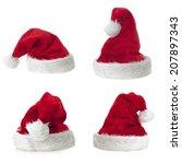Four Santa Claus Hat On White...