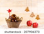 wicker basket with christmas... | Shutterstock . vector #207906373