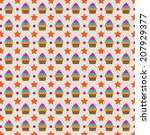 cute cupcake background shape... | Shutterstock .eps vector #207929377