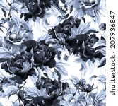 seamless monochrome floral... | Shutterstock . vector #207936847