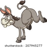 Angry donkey kick. Vector clip art illustration with simple gradients. All in a single layer.