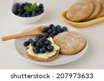 rye flatbread with ricotta ... | Shutterstock . vector #207973633