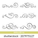 set of six vector flourish... | Shutterstock .eps vector #207975127