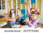 portrait of cute boy raising...   Shutterstock . vector #207975283