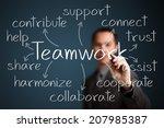 business man writing teamwork...   Shutterstock . vector #207985387