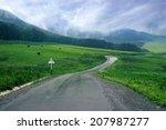 wet asphalt road through the...