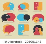 vector collection of talking ... | Shutterstock .eps vector #208001143