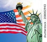 statue of liberty  sunny sky... | Shutterstock . vector #208002943