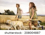 Children Running With The Dog...