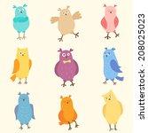 set of bright funny owls. nine... | Shutterstock . vector #208025023