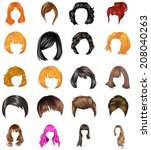 hair styles collection vector | Shutterstock .eps vector #208040263