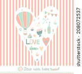 vector vintage wedding... | Shutterstock .eps vector #208072537