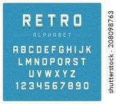 retro alphabet font. type... | Shutterstock .eps vector #208098763