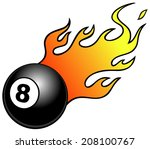 eight ball with flames