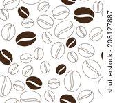 coffee beans seamless texture.... | Shutterstock .eps vector #208127887