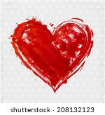 card with grunge heart. vector... | Shutterstock .eps vector #208132123
