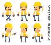 set of contractor character in... | Shutterstock .eps vector #208133107