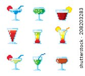 set of pixel icons. cocktails... | Shutterstock .eps vector #208203283