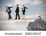 young businesswoman pulling a... | Shutterstock . vector #208218247