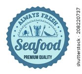 seafood label  sign or stamp on ... | Shutterstock .eps vector #208220737