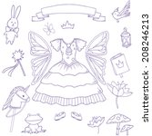 My little fairy princess set. Cute vector clip art
